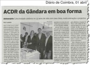 Notícia publicada sobre a comemoração 33.º aniversário da ACRDG.