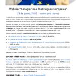 """Webinar: """"Estagiar nas Instituições Europeias"""" (23 junho, 15:00)."""